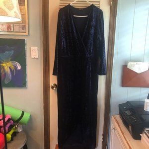 Navy Blue Crushed Velvet Wrap-Style Gown